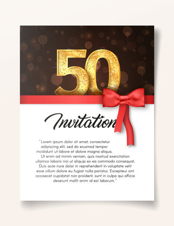 Template of invitation card to the day of the fiftieth anniversary with abstract text vector illustration. To 50th years eve card invite. Stock Illustratie