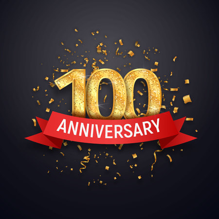 Hundred years anniversary icon template. 100th celebrating golden numbers with red ribbon vector and confetti isolated design elements.
