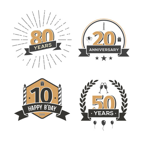 Collection of retro anniversary logo. Isolated vintage icons of holiday celebrating vector illustration Illustration
