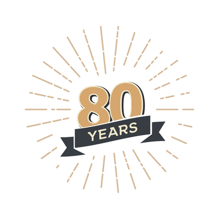 Eighty anniversary retro vector emblem. Vintage logo 80 years with ribbon and salute Illustration