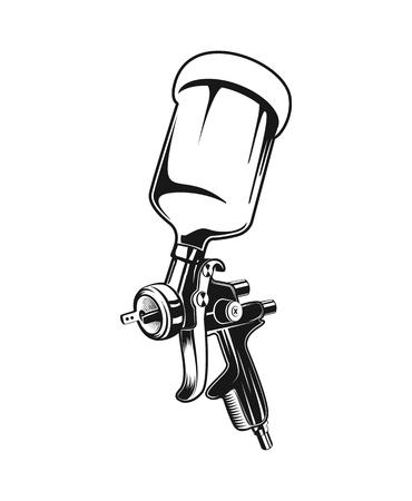 Vector illustration of isolated monochrome spray gun. Custom services tool