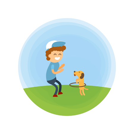 Little boy and puppy walking at park vector illustration. Training a small dog turns the hoop like a circus. Illustration