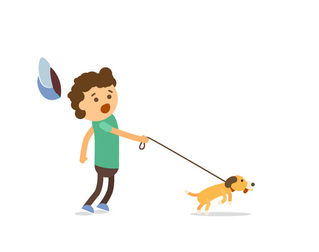 Boy and dog illustration