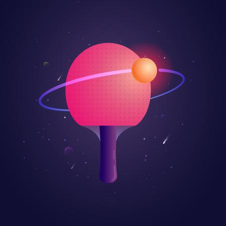 La racchetta per ping-pong con la palla gradisce un'illustrazione di vettore dello sputnik. Modello del manifesto per il club di ping-pong
