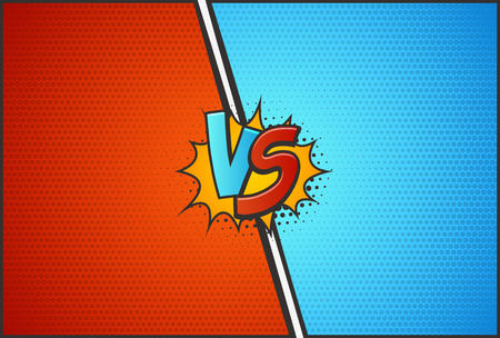 Versus battle template vector illustration. VS letters with explosion cloud pop art style 向量圖像
