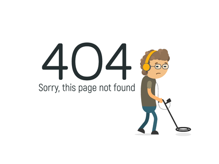 Funny design 404 page not found vector illustration. Geek with metal detector searching the big data Illustration