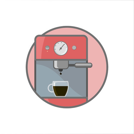 Isolated outline coffee machine in circle vector illustration.