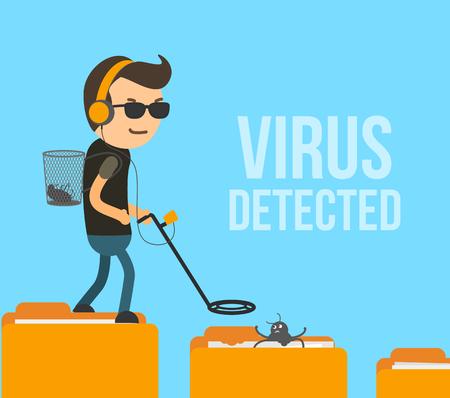Antivirus hunter found the infection in folder vector illustration. Vector Illustration