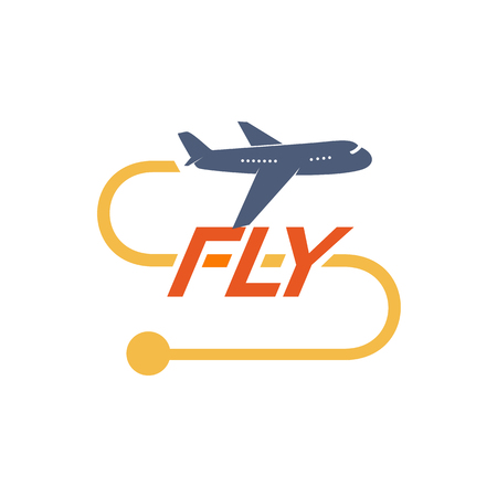 Airplane logotype with yellow flight route vector illustration Illustration
