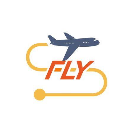 Airoplane  with yellow flight route vector illustration. Isolated simple plane  with text on white background