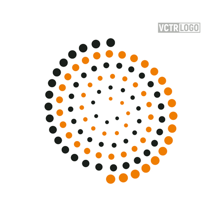 A Vector spiral logo with color dots isolated illustration. Abstract swirl logotype Illustration