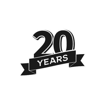 Vector 20 Years Anniversary Logotype Isolated Black Logo 20th
