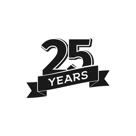 A Vector 25 years anniversary logotype on Isolated black logo 25th jubilee on white background Vectores