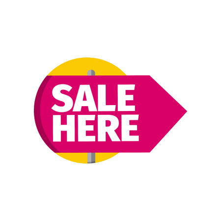 Isolated sale banner template vector illustration. Pink sign with text in yellow circle