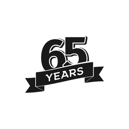 Vector 65 years anniversary logotype. Isolated black logo 65th jubilee on white background Illustration
