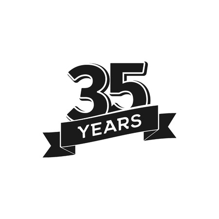 Vector 35 years anniversary logotype. Isolated black logo 35th jubilee on white background Illustration