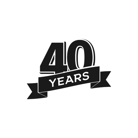 Vector 40 years anniversary logotype. Isolated black logo 40th jubilee on white background