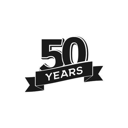 Logo vectoriel anniversaire 50 ans. Logo noir isolé 50e jubilé sur fond blanc