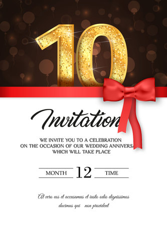 Template of invitation card to the day of the tenth anniversary with abstract text vector illustration.
