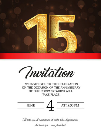 Template of invitation card to the day of the fifteen anniversary template of invitation card to the day of the fifteen anniversary with abstract text vector illustration stopboris Images