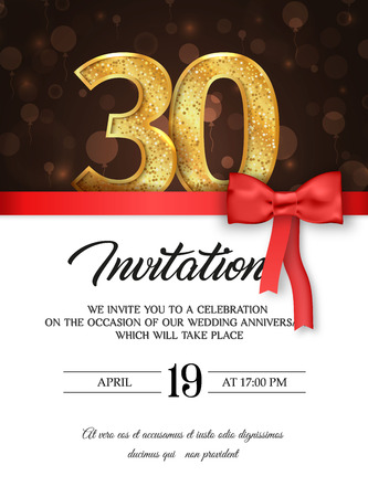 Template of invitation card to the day of the thirtieth anniversary with abstract text vector illustration.