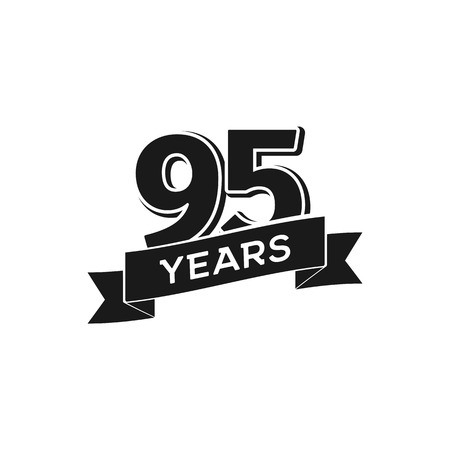Vector 95 years anniversary logotype. Isolated black logo 95th jubilee on white background Illustration