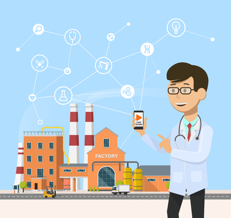 Smart industrial 4.0 . Industry revolution in medicine vector illustration. Engineer doctor manage the plant with smartphone flat design