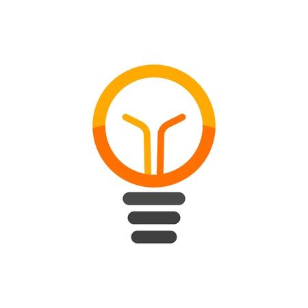 Light bulb isolated vector  . Orange lamp logotype on white background Stock Photo