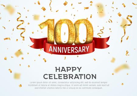 Plantilla de banner de vector de aniversario de 100 años. Jubileo de cien años con cinta roja y confeti sobre fondo blanco.
