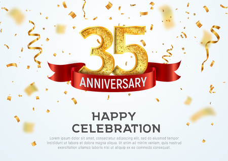 35 years anniversary vector banner template. Thirty five year jubilee with red ribbon and confetti on white background