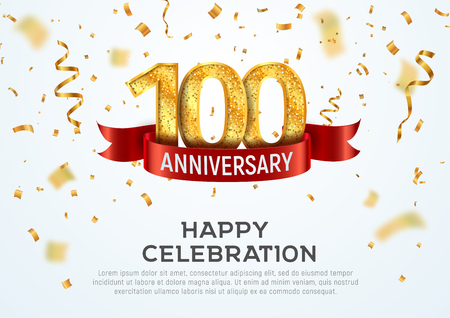 100 years anniversary vector banner template. Hundred year jubilee with red ribbon and confetti on white background Illustration