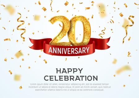Plantilla de banner de vector de aniversario de 20 años. Jubileo del vigésimo año con cinta roja y confeti sobre fondo blanco. Ilustración de vector