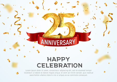 25 years anniversary vector banner template. Twenty five year jubilee with red ribbon and confetti on white background Illustration