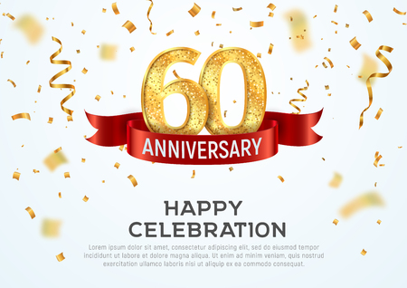 60 years anniversary vector banner template. Sixty year jubilee with red ribbon and confetti on white background