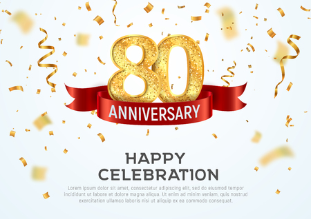 80 years anniversary vector banner template. Eighty year jubilee with red ribbon and confetti on white background
