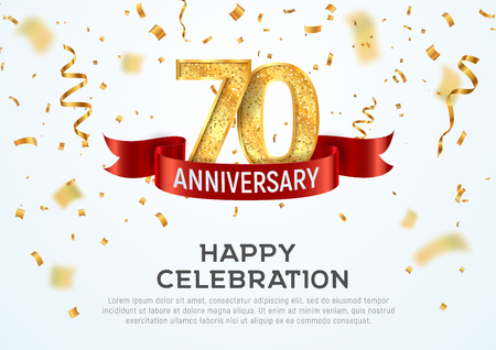 70 years anniversary vector banner template. Seventieth jubilee with red ribbon and confetti on white background Illustration