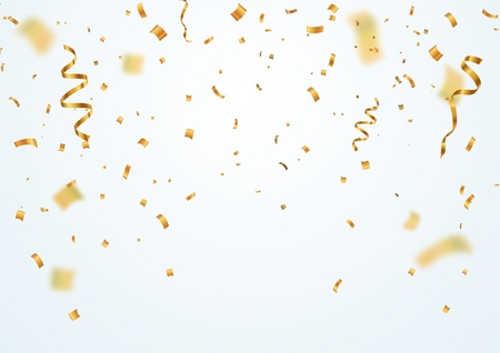 Golden flying blur confetti with motion effect on light white background . Template for Holiday vector illustration