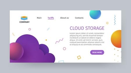 Cloud database storage services template of website or application vector illustration. Super computer data hosting