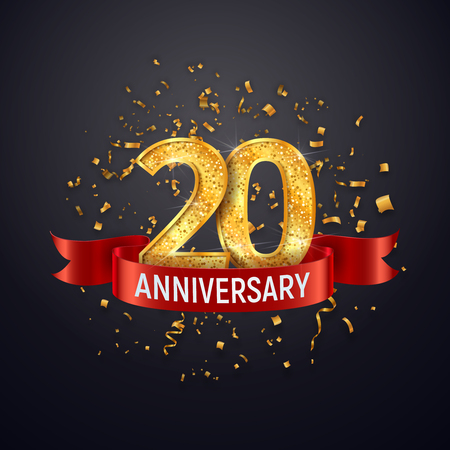 20 years anniversary logo template on dark background. Twenty celebrating golden numbers with red ribbon vector and confetti isolated design elements