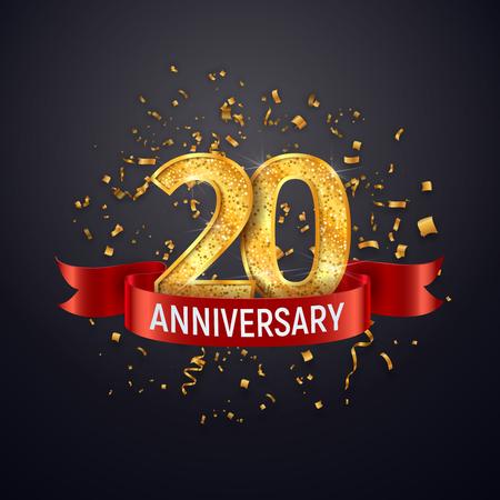 Modello di logo di anniversario di 20 anni su sfondo scuro. Venti che celebrano i numeri dorati con il vettore del nastro rosso e gli elementi di design isolati dei coriandoli Logo