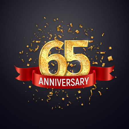 65 years anniversary template on dark background. Sixty-five celebrating golden numbers with red ribbon vector and confetti isolated design elements