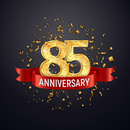 85 years anniversary template on dark background. Eighty five celebrating golden numbers with red ribbon vector and confetti isolated design elements Иллюстрация