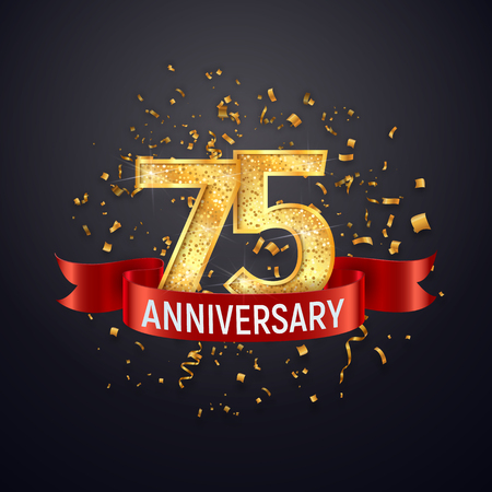 75 years anniversary template on dark background. Seventy five celebrating golden numbers with red ribbon vector and confetti isolated design elements
