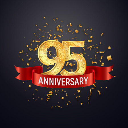 95 years anniversary template on dark background. Ninety five celebrating golden numbers with red ribbon vector and confetti isolated design elements