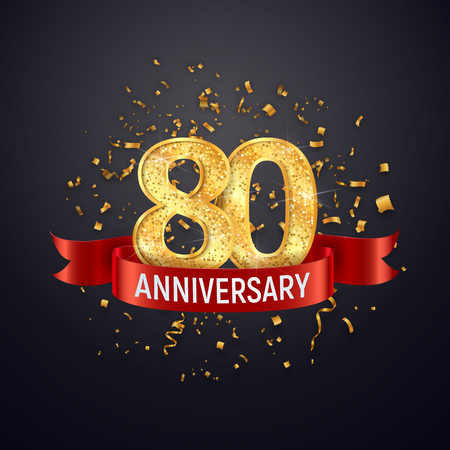 80 years anniversary template on dark background. Eighty celebrating golden numbers with red ribbon vector and confetti isolated design elements