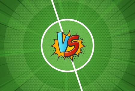 Tekstura wektor boisko vs na tle mistrzostw w piłce nożnej. Ilustracja wektorowa szablonu kontra bitwa