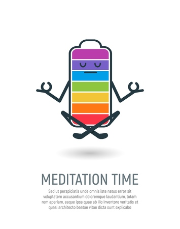 Yoga, lotus position vector illustration. Isolated cartoon battery meditate and levitate on white background Illustration