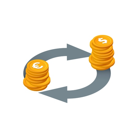 Financial transactions, currency exchange, money conversion vector icon. Isolated Isometric stack of coins with arrows on white background.