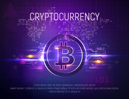 Bright bitcoin mining technology vector background. Crypto currency on world map dark abstract backgrounds. Financial growth concept