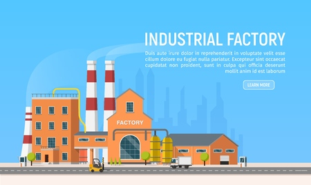 Vector flat Industrial factory or plant on city background. Industrial revolution 4.0 . Manufacturing engineering buildings illustration. Urban architecture Illustration